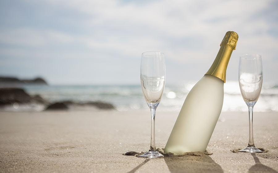 champagne banho